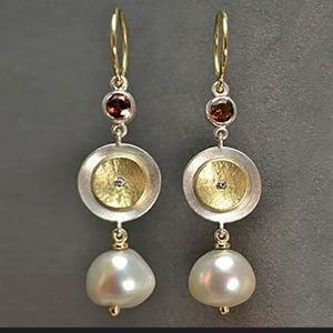 Bamos pearl earrings  silver  gold accent pierced